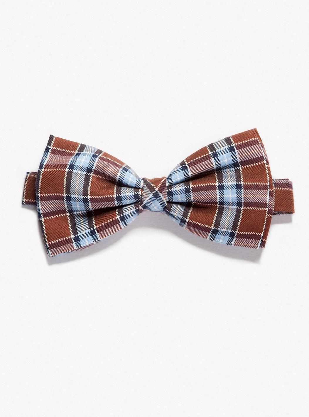 2397bf9e73b9 ARVO Brown-azure tartan ready-tied flannel Bow tie – Welcome on ...